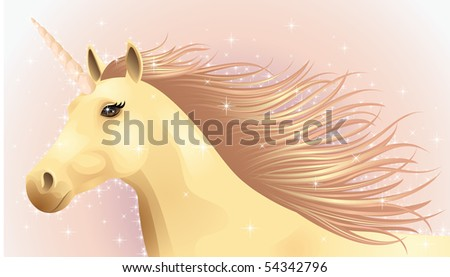 Portrait of a running magic unicorn. - stock vector