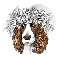 Portrait of a Spaniel dog in a flower head wreath. Vector illustration.