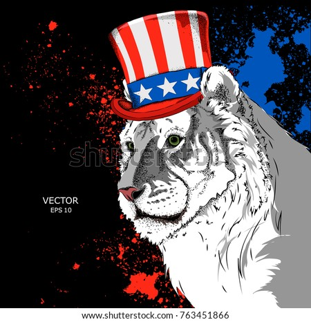 Portrait Of A Tiger In Old American Hat With A Flag National