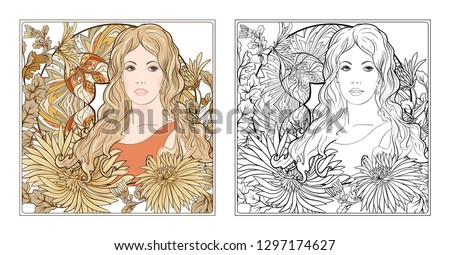 Portrait of a woman with long hair in floral frame in old, retro, art nouveau style. Colored and outline design. Vector illustration. Coloring page for the adult coloring book with colored sample