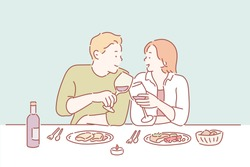 Portrait of a young couple in love on a date, sitting at a restaurant table, drinking wine. Hand drawn style vector design illustrations.