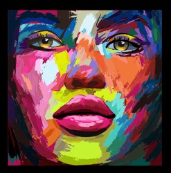 Portrait of a young  woman in knife acrylic painting style - vector illustration (Ideal for printing on fabric or paper, poster or wallpaper, house decoration) The portrait is totally fictitious