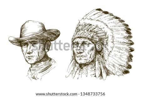 Native American Indian Portrait Vector - Download Free Vector Art
