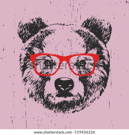 portrait of bear with glasses