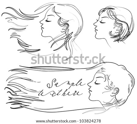 Portrait of beautiful young long-haired woman. Hair fluttering wind. Vector illustration