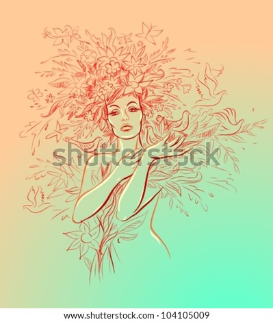 Portrait of beautiful young woman in sensual state covered with flowers, birds and butterflies
