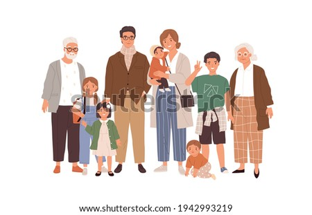 Portrait of big happy family with children, mother, father, grandfather and grandmother isolated on white background. Parents, grandparents and grandchildren. Colored flat vector illustration