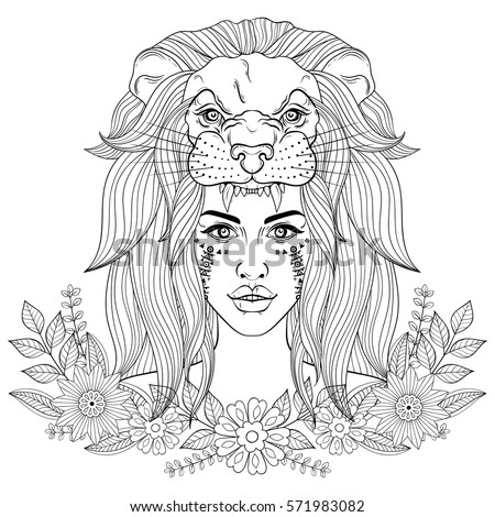 Portrait of boho girl with lion head mask, woman in floral wreath.  Vector illustration for tattoo, adult coloring page, occultism sprituality t-shirt print.