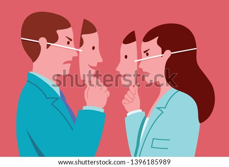 Portrait of business man and woman with smiling masks hiding real expressions of mutual hostility. Conceptual illustration representing hypocrisy in workplace Photo stock ©