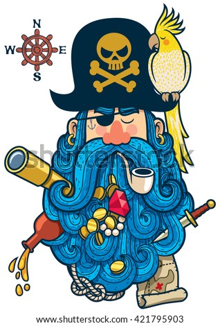portrait of cartoon pirate with