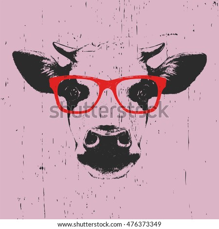 portrait of cow with glasses