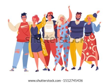 Portrait of cute joyful friends. Group of smiling young people or student  standing together, embracing each other, waving hands. Happy flat cartoon people characters isolated on white background.