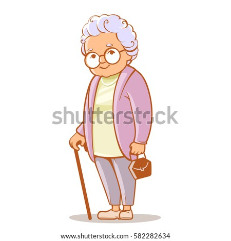Shutterstock Portrait of cute old woman with bag and  walking stick. Grandmother wearing glasses, with short grey hair. Senior lady on walk. Grandma. Vector illustration.
