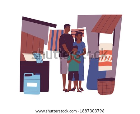 Portrait of dark skin poor family living at slum standing together vector flat illustration. Mother, father and son in ghetto neighborhood isolated. People citizens of country with low income Photo stock ©