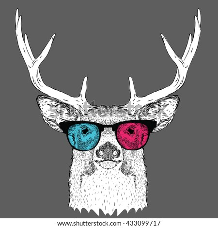 b0475e49600 Portrait of deer in the colored glasses. Vector illustration.  433099717