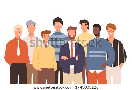 Portrait of diverse smiling business man vector flat illustration. Group of casual funny guy colleagues posing together isolated on white. Colorful male office workers having positive emotion
