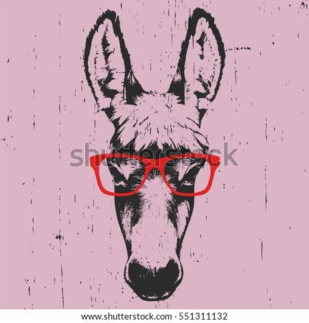 portrait of donkey hand drawn