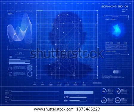Portrait of face. Biometric identification or recognition system of person face or voice. Authentication System Concept in futuristic background. HUD UI GUI elements. Technology and AI Concept. Vector #1375465229
