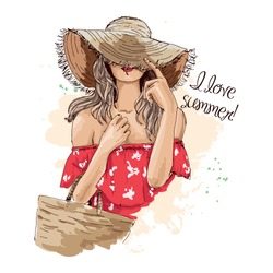 Portrait of fashionable woman in hat with beach bag. Beautiful young woman in summer clothes covers her face with a hat. Stylish girl in a hat. Hand drawn sketch. Vector illustration of fashion.