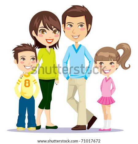 Portrait of four member family posing together smiling happy