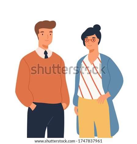Portrait of funny businessman and businesswoman standing together vector flat illustration. Two stylish smiling people colleagues isolated on white. Joyful man and woman office workers