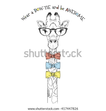 portrait of giraffe with many bow ties, hand drawn graphic