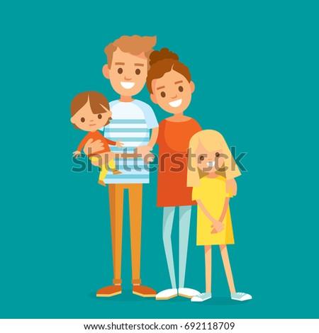 portrait of happy family of 4