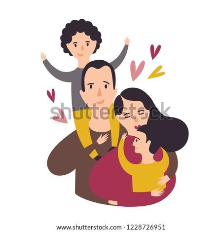 portrait of happy loving family