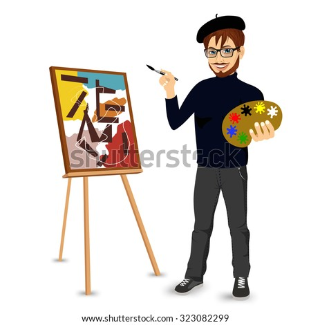 portrait of  happy male painter