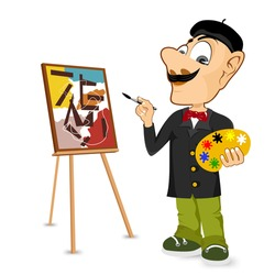 portrait of  happy male painter artist with mustache smiling and painting with colorful palette standing near easel