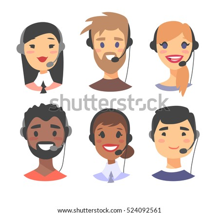 Portrait of happy smiling customer support phone operator. Call center worker with headset. Cartoon vector illustration women and men agent