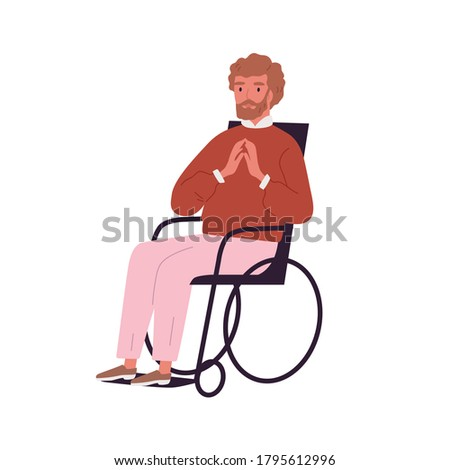 Portrait of invalid, disabled young man sitting in wheelchair. Handicapped character with limited mobility. Successful paraplegic person on white background. Flat vector cartoon isolated illustration Photo stock ©