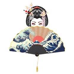 Portrait of japanese geisha woman with traditional fan design.