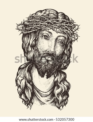 portrait of jesus christ. hand...