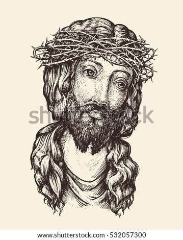 Portrait of Jesus Christ. Hand drawn sketch vector illustration