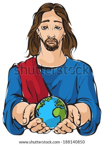 Portrait of Jesus holding the hands planet Earth with white background Earth at peace theme Also available raster and outlined version