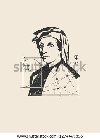 Portrait Of Leonardo Fibonacci. Great Italian scientist. Mathematical science. History of medieval Europe.