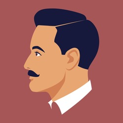 Portrait of moustached brunet man. Head of moustached man in profile. Avatar of stylish businessman for social networks. Abstract male portrait, face side view. Stock vector illustration in flat style
