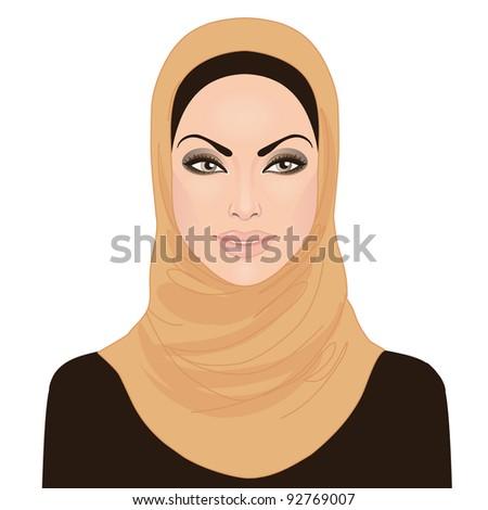Portrait of muslim beautiful girl  in hijab, vector illustration