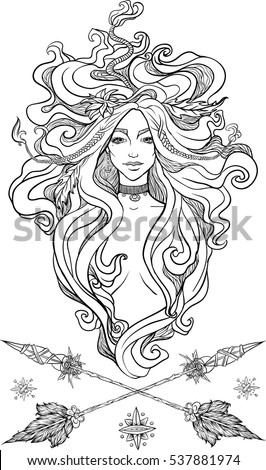 portrait of mystic girl hand