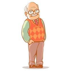 Portrait of old man wearing glasses. Grandfather with grey hair, mustache, wearing sweater. Cartoon grandpa. Senior man standing. Isolated vector illustration.