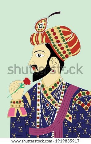 Portrait of Rajput king folk art painting, vector illustration