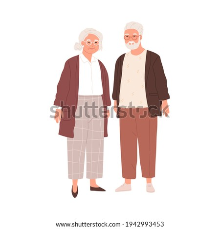 Portrait of senior couple of old people isolated on white background. Aged man and woman standing together. Colored flat vector illustration of retired gray-haired grandmother and grandfather