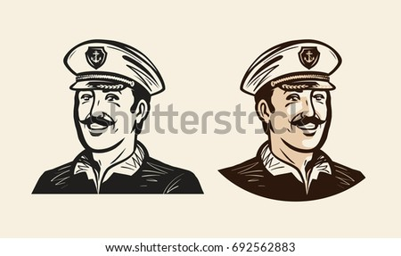 Portrait of smiling captain. Sailor, seafarer sketch. Vintage vector illustration