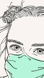 Portrait of teenage girl in medical face mask, Vector sketch hand drawn illustration close up face vertical banner