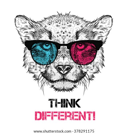 Portrait of the cheetah in the colored glasses. Think different. Vector illustration.