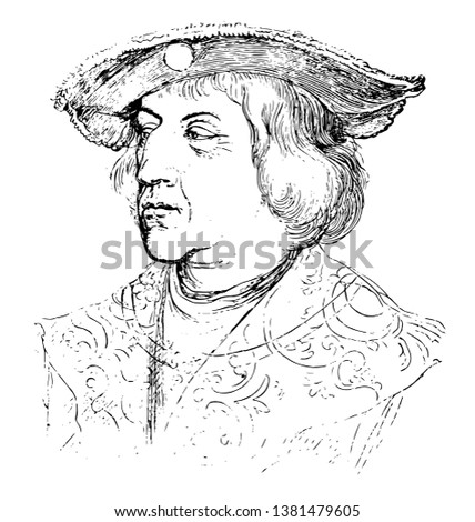 Portrait of the Emperor Maximilian by Dürer in the Albertina and celebrate the emperor and his house, artist conceived the large Triumphal Arch woodcut, vintage line drawing or engraving illustration.
