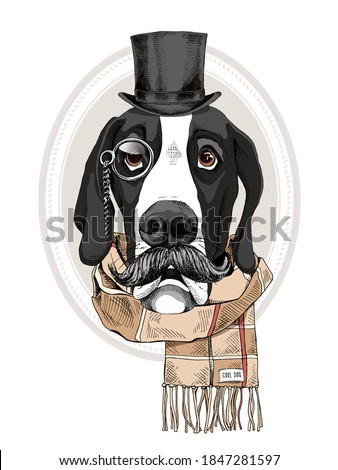 Portrait of the funny Great Dane dog with a mustache in the gentleman top hat, checkered scarf and with monocle. Humor card, t-shirt composition, hand drawn style print. Vector illustration. Foto stock ©