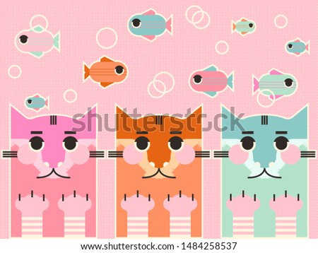 portrait of three cats with fish