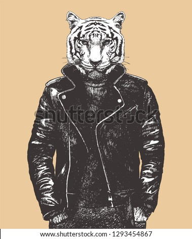portrait of tiger in leather